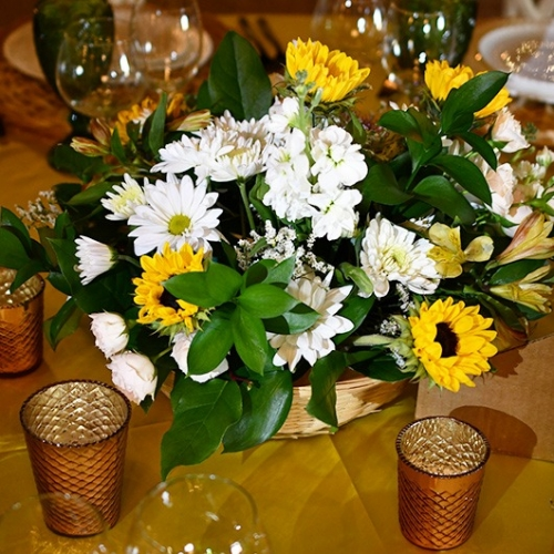 basket bowl flower arrangement