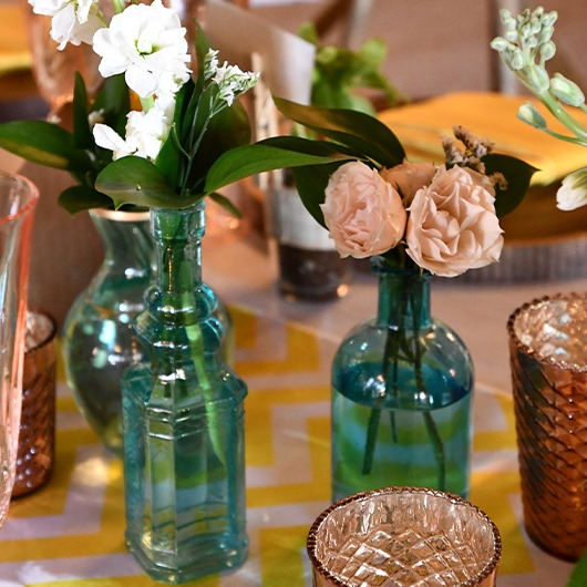 bud vases with flowers