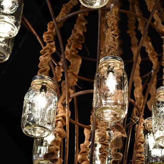 close up of mason jar chandelier