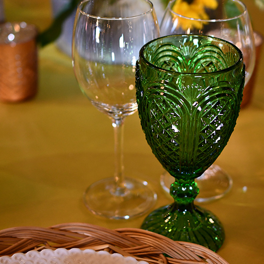 colored glass for table decoration at reception