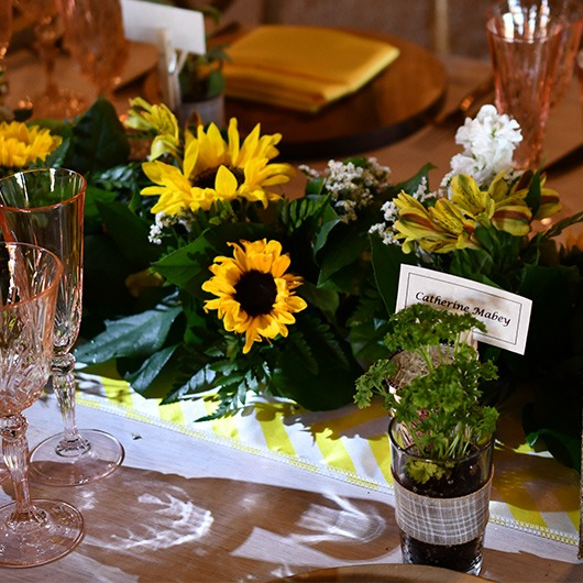 floral garland with sunflowers for table