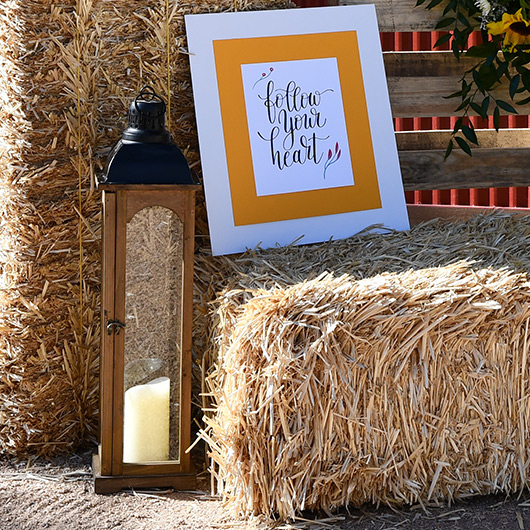 hay bale at wedding