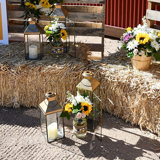 mason jar with flowers at country wedding