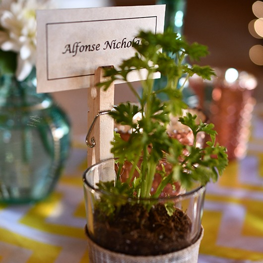 place setting with herbs and name on card