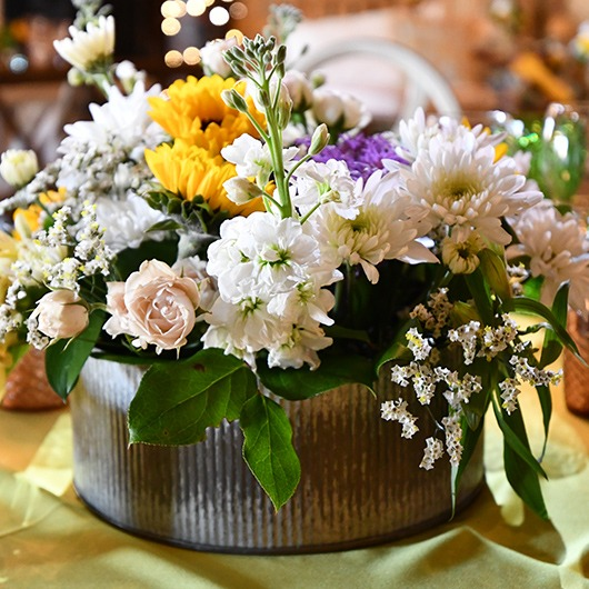round tin for table centerpiece