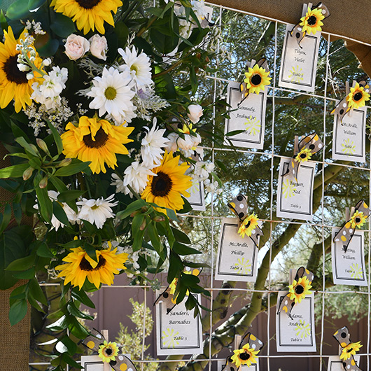 sunflower guest table numbers display