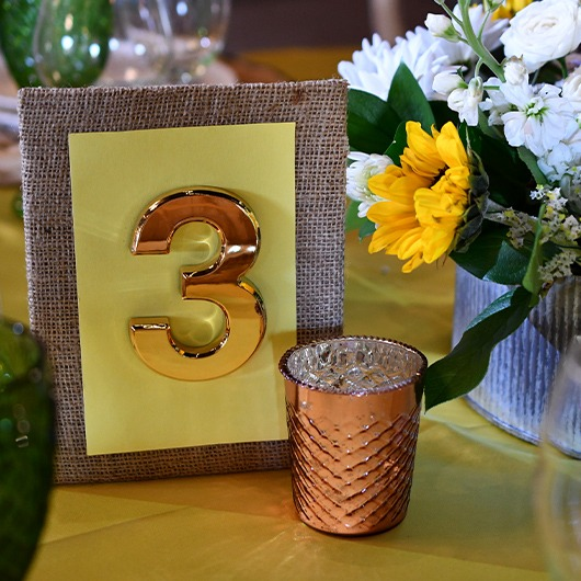 table numbers for country chic wedding