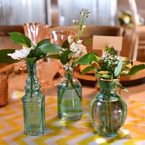three bud vases