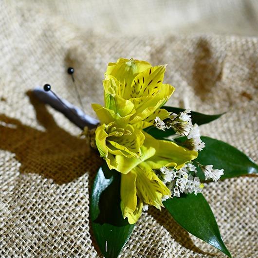 yellow alstroemeria boutonniere